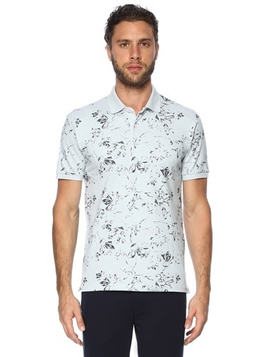 George Hogg George Hogg 7003326 Polo Yaka Slim Fit Nar Çiçeği Tshirt Erkek Tişört Mavi